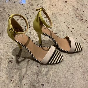 Neon and striped high heels